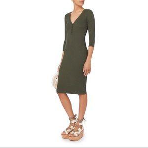 NWT L'Agence Aurora Heathered Olive Henley Dress